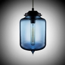 Jar Shaped Colored Glass LOFT Industrial Chandelier Pendant