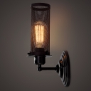 Wrought Iron Cylinder Net Wall Light in Industrial Style