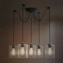 Retro 5 Light LED Multi Light Pendant with Cylindrical Shade