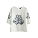 White Background Ethic Pattern 3/4 Sleeve Blouse