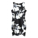 Mono Ink Color Pattern Print Bodycon Tanks Dress