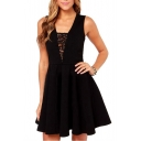 Black Back Sheer Lace Panel Plunge Neck Elegant Style Pleated Dress