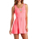 Tri Cutout Heart Back A-line Pink Tanks Dress