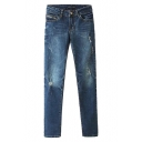 Blue Dark Wash Mid Rise Zippered Pockets Jeans