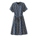 Floral Print Navy Background Stand Up Short Sleeve Belted Dress