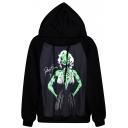 Green Horror Monroe Print Black Hoodie