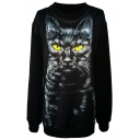 Yellow Eyed Cat Print Black Sweatshirt