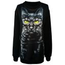 Yellow Eyed Cat Print Black Sweatshirt
