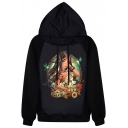 Punk Girl Print Hooded Pullover with Drawstring