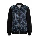 Geometric Pattern Rock&Roll Style Black Baseball Jacket