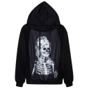 Female Skull Print Stylish Hooded Pullover with Drawstring