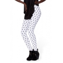 White Background Litter Star Print Fashion Leggings