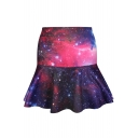 Purple&Red Galaxy Print A-line Skirt