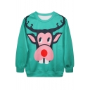 Cartoon Deer Print Green Sweatshirt