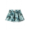 High Waist Organza Green Ink Color Flower Print Skirt