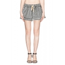 Plaid Pattern Drawstring Waist Pockets Shorts