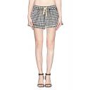 Plaid Pattern Drawstring Waist Pockets Shorts