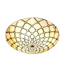 Remarkable Contemporary Tiffany Flush Mount Light Fixture with Grid Structure Shape