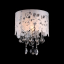 Laser Cut Flower Creamy Shade Clear Crystal Drops Single Light Flush Mount Light