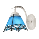 Romantic Blue and White Glass Shade Tiffany Wall Sconce in White Finish