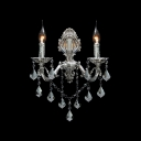 Decorative Two Light Wall Sconce Features Delicate Silver Detailing and Beautiful Crystals