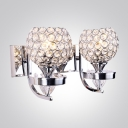 Gorgeous Two Lights Crystal Mounted Shade Add Glamour to Sparkling Modern Wall Sconce