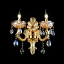 Opulent Decorative Two Light Wall Sconce With Beautiful Crystal Droplets and Zin Alloy Back Plate