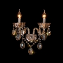 Luxury Regal Two Light Crystal Wall Sconce with Delicate Plates and Graceful Curving Crystal Arms