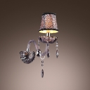 Beautiful Black Single Light Wall Sconce with Scrolling Arms and Lead Crystal Drops