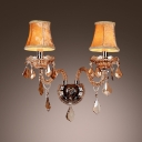 Grand European Style Two Light Wall Sconce with Graceful Scrolling Arms