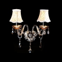 Graceful Two Light Wall Sconce Completed with Grand Ivory Fabric Shades