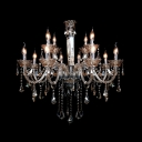 Glittering Crystal Column Swirled Arms Classic Chandelier Hanging Crystal Teardrops