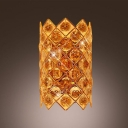Gold Finish and Sparkling Crystal Wall Sconce Perfect for Dining Room or Plush Dressing Area