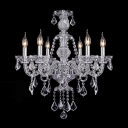 6-Light Clear Crystal Chains and Drops Candle Light Classic Chandelier