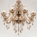 Sophisticated and Classic 8-Light Elegant Scrolls Crystal Droplets Large Chandelier
