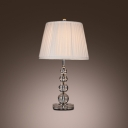 Elegant Table Lamp Features Chic Stacked Crystal Ball and Vibrant Wine Red Lamp Shade