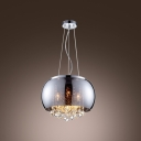 Gracefully Smoky Glass Round Shade Chrome Finished Modern Pendant Light Hanging Crystal Balls