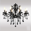 Spectacular Chandelier Design Features Gleaming Black Finish and Black Crystal Droplets