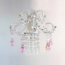 Beautifully Proportioned Sparkling Hanging Swag Chandelier Adorned with Clear and Pink Drops