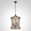Distinguished Pendant Llight  Features Sparkling Crystal Beads Intertwined with Elaborately Designed Wrought Iron Frame
