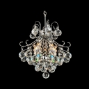 Glittering Crystal Diamonds Dropped Cut Metal Frame Mini Pendant Chandelier