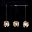 Opulent and Modern Multi Light Pendant Features Chic Crystal Cubes and Retangular Canopy