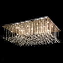 Luminous and Grand Rectangular Clear Crystal Raindrops Falling Flush Mount