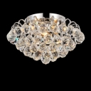 Chrome Finished Frame Hanging Cluster of Clear Crystal Balls Brilliant Design Flush Mount