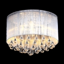 Soft Sheer Drum Shade 4-Light Elegant Flush Mount Hanging Clear Crystal Teardrops
