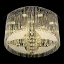 Bold and Elegant Rounded Crystal LED Flush Mount with Chrome Finished Stainless Steel Canopy