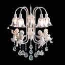 Hand Cut Sparkling Clear Rock Crystal Droplets Angle Design Romantic and Delicate Chandelier