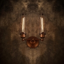 Aged Rust 2-light Upward LED Wall Sconce in Industrial Style