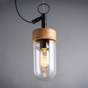Industrial Bullet Clear Glass Wood Socket LED Pendant