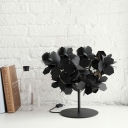 Branched Modern Black Flower Covered Table Lamp